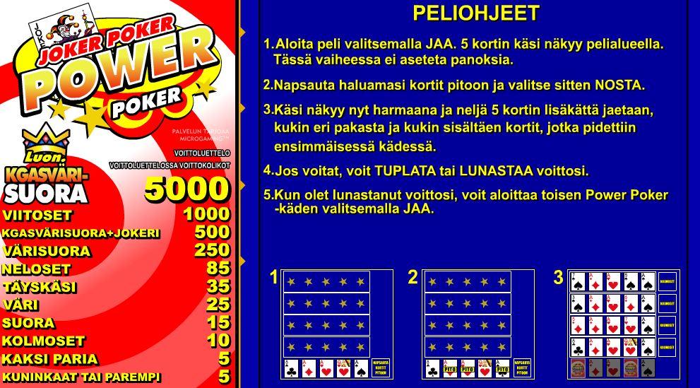 Jokeri Pokerin ohjeet