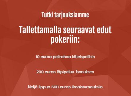 Pokerihuoneen tarjoukset
